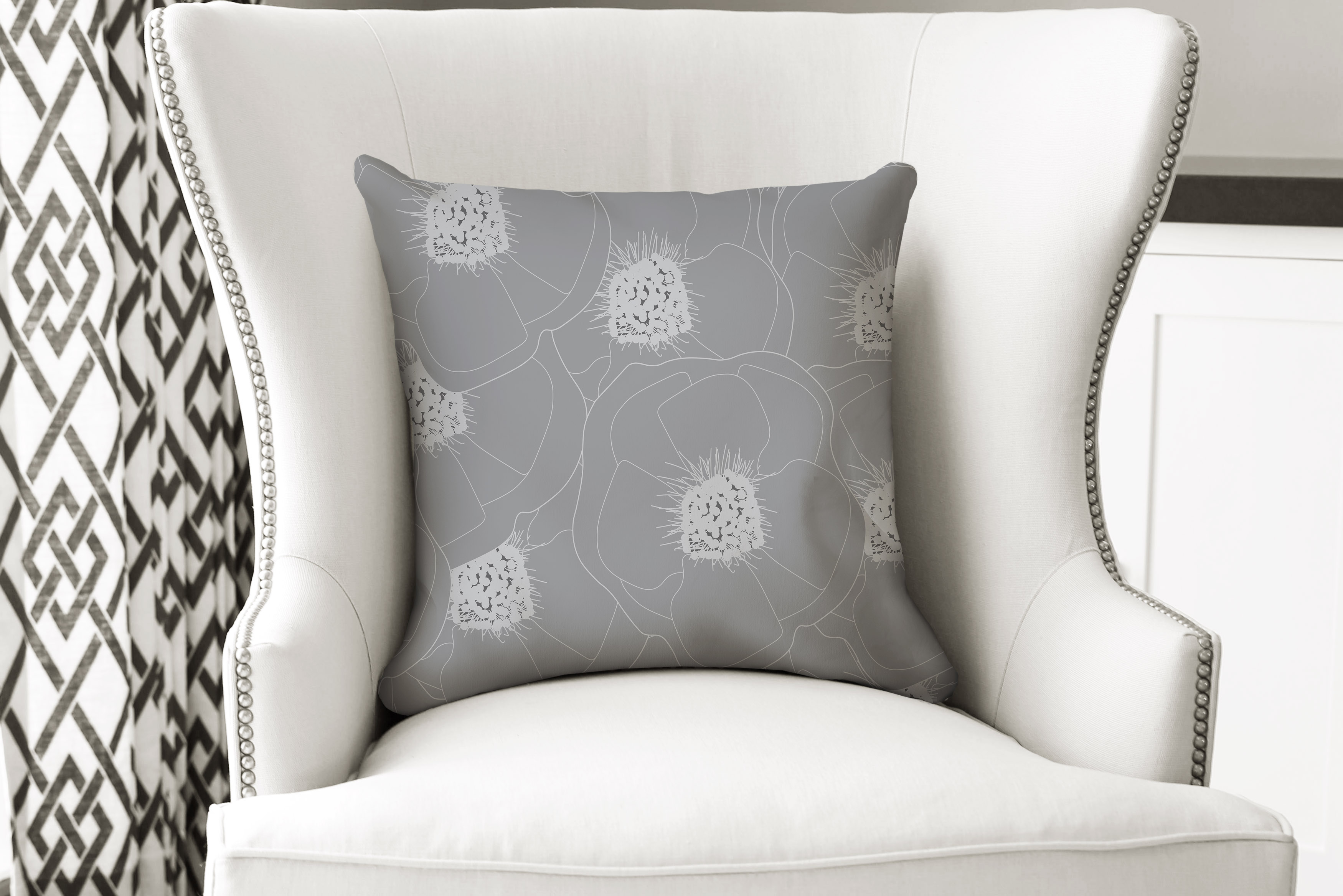 single pillow grey flower