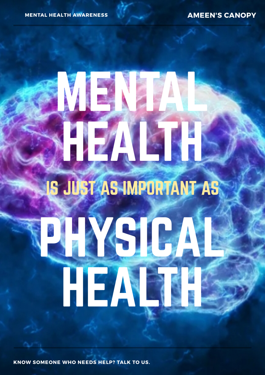 A poster saying that Mental Health is equally as important as Physical Health
