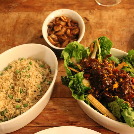 Crispy sweet chilli beef with egg fried rice