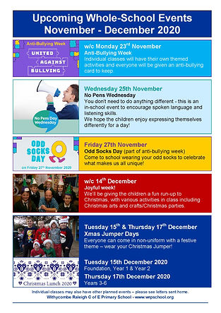 Upcoming Whole school events november 20