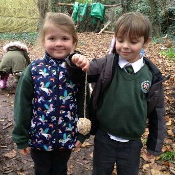 Rabit Class making bird feeders