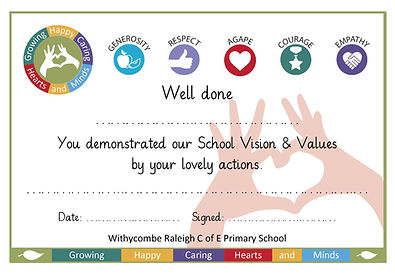 school values certificate