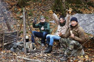 森でハンバーグを作ろう!秋のブッシュクラフト!