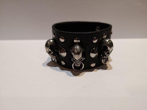 Bracelet en cuir 3 crânes