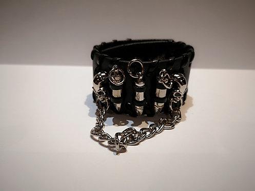 Bracelet en cuir 3 balles et 2 crânes
