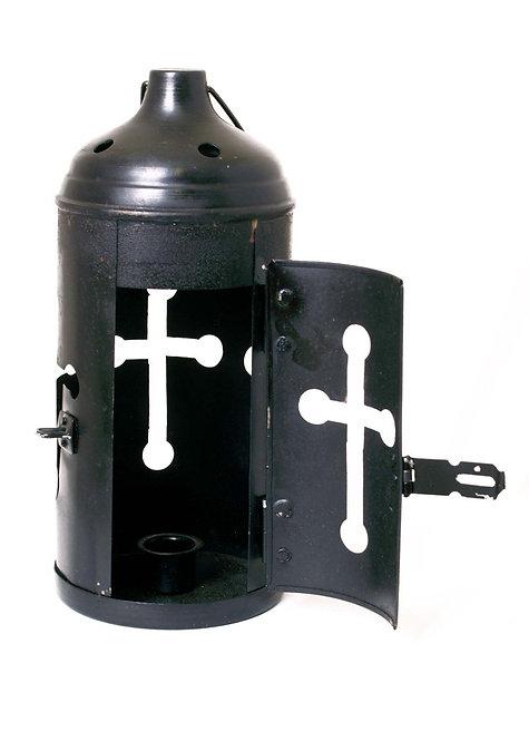 Lanterne acier Noir avec Croix