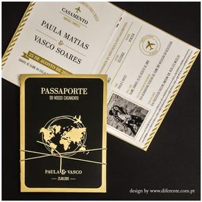 Ideias para o seu convite de casamento passaporte!