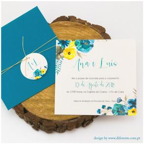 Convite de Casamento - Blue Flower