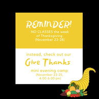 CLOSED Thanksgiving Week