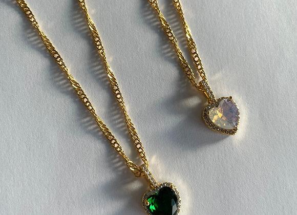 Halskette Zirconia Heart milky white/green