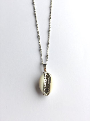 Halskette Cowrie white/silver