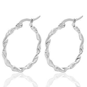 Stainless Steel Twist Hoops Silver