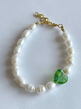 Perlenarmband Green Heart