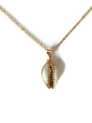 Halskette Cowrie white/gold
