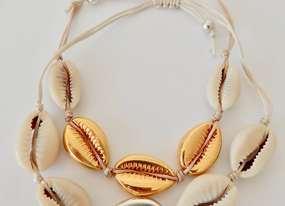 Armband Cowrie silver/gold and natural