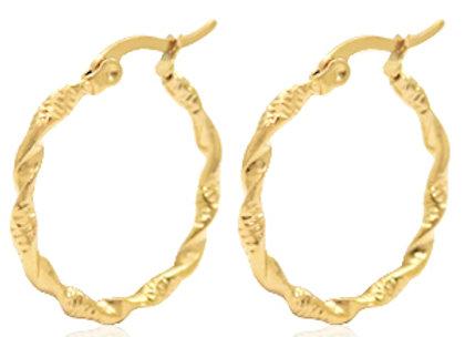 Stainless Steel Twist Hoops Gold