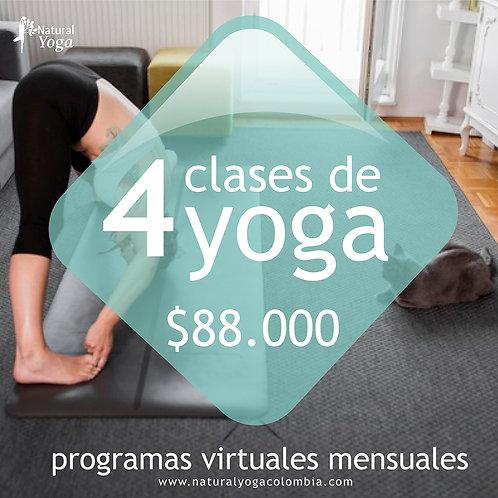 Programa virtual 4 clases de Yoga
