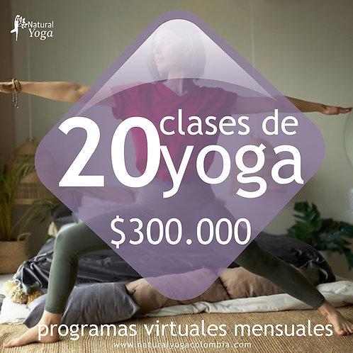 Programa virtual 20 clases de Yoga