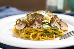 Tortellini with Fresh Black Truffles, Wild Mushroom, Sausage & Sage Butter Sauce