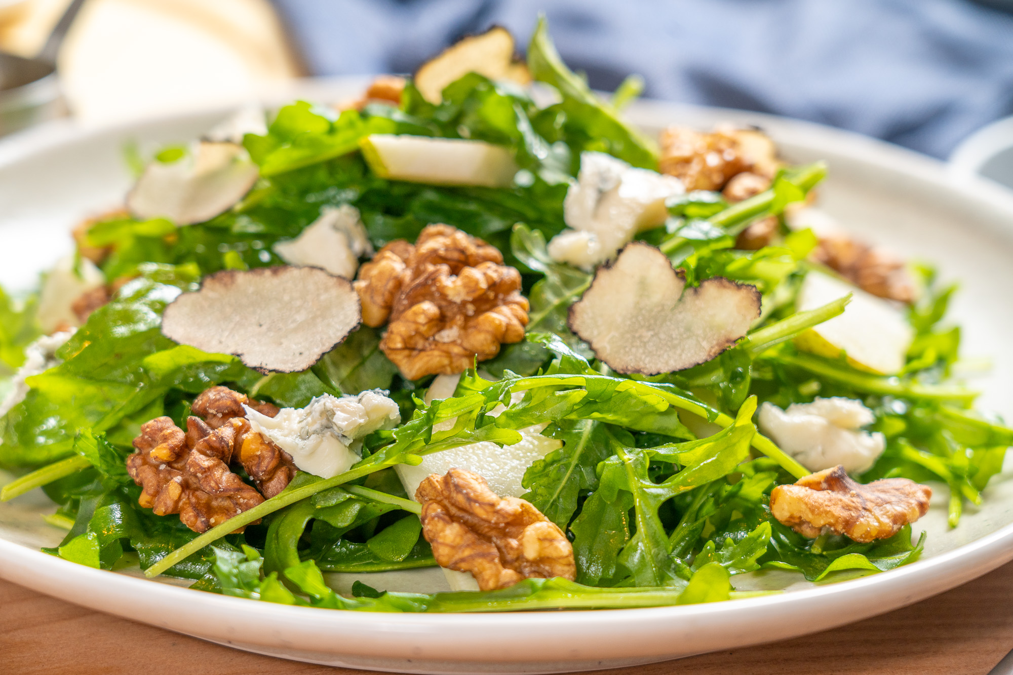 Arugula, Pear & Walnut Salad with Black Truffle Vinaigrette