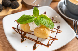 Vanilla Profiteroles with Black Truffle Flakes
