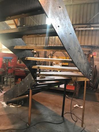 escalier en cours de fabrication