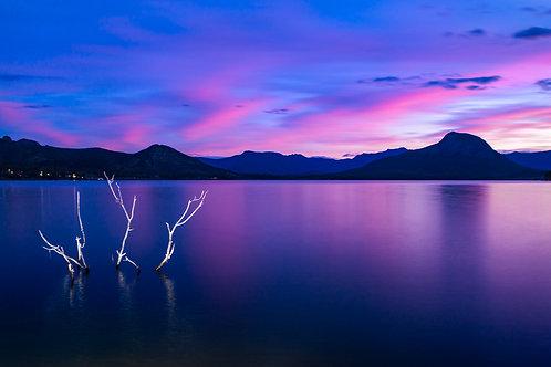 Lake Moogerah Sunset Matted Print 8 Inch X 12 Inch