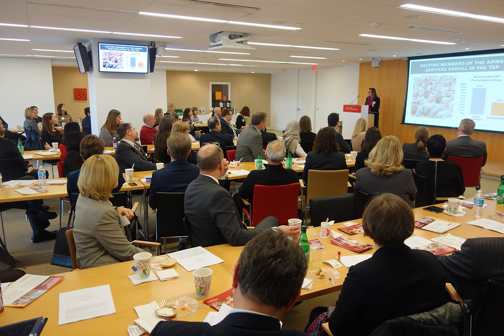 over 60 HKS alums and guests gathered to share breakfast and learn more about applying behavioral science insights to public policy problems
