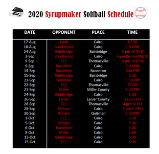 2020 Syrupmaker Softball Schedule