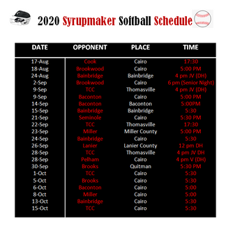 2020 Syrupmaker Softball Schedule