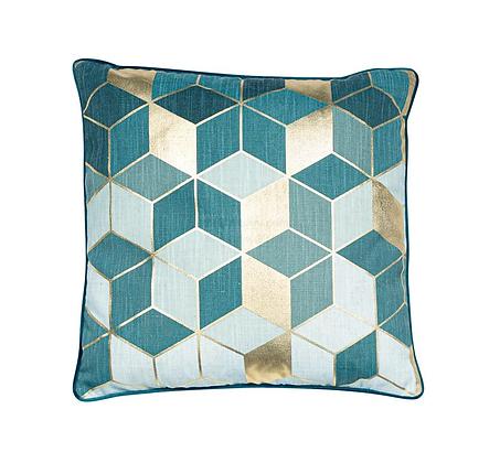 Malini Cubes Feather Cushion - Teal