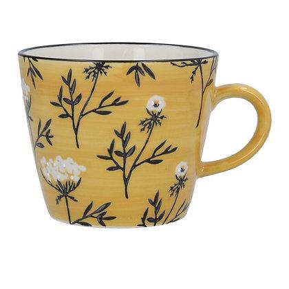Gisela Graham Mustard Cow Parsley Mug