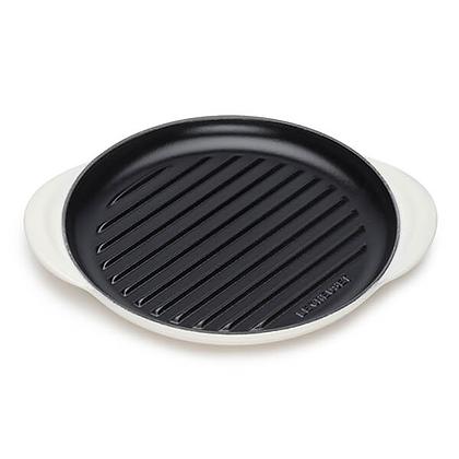Le Creuset Cast Iron Round Grill - Meringue