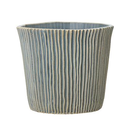 Bloomingville Blue-Grey Grooved Flowerpot