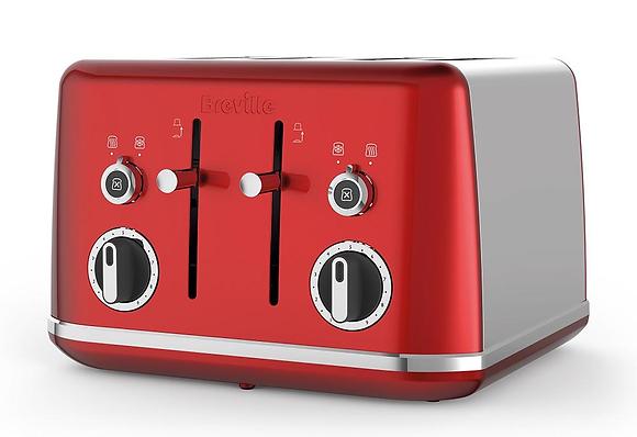 Breville Lustra 4 Slice Toaster - Candy Red