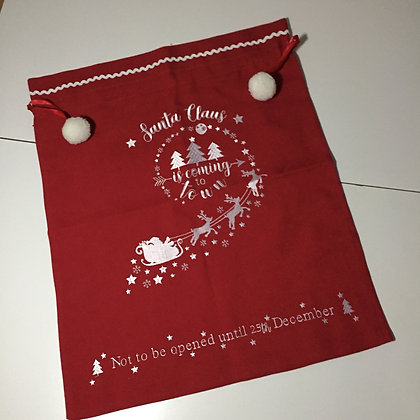 Peggy Wilkins Santa Claus is Coming to Town Gift Sack