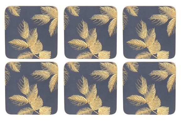 Portmerion Sara Miller Etched Leaves Coasters - Navy Blue