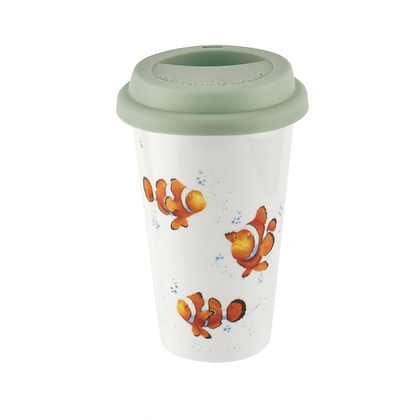 Royal Worcester Wrendale Designs Clown Fish Travel Mug with Silicone Lid