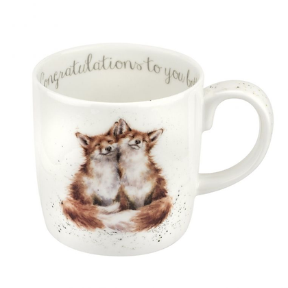 Royal Worcester Wrendale 'Congratulations Both' Foxes Large Fine Bone China Mug