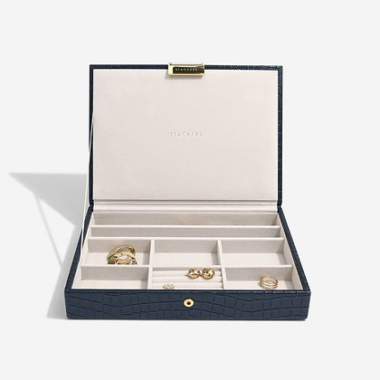 Stackers Classic Jewellery Box Lid - Navy Croc