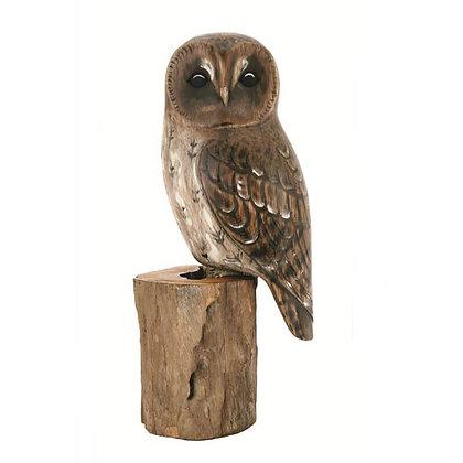 Archipelago Tawny Owl Wooden Sculpture