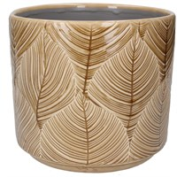 Gisela Graham Large Pot Cover - Mustard Leaves