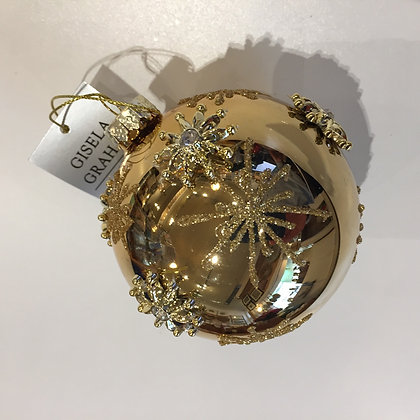 Gisela Graham Decoration - Medium Gold Bauble with Stars
