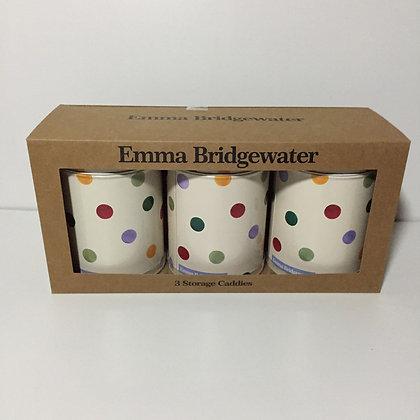"Elite Tins Emma Bridgewater ""Polka Dot"" Three Storage Caddies"