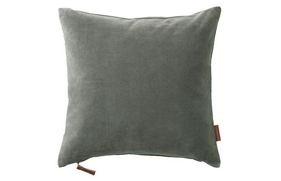 Feather Filled Velvet Cushion-Moss