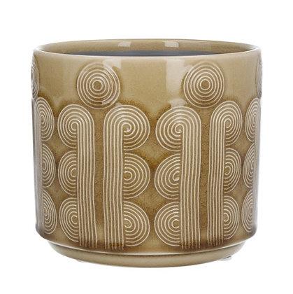 Gisela Graham Mustard Circles Small Pot Cover