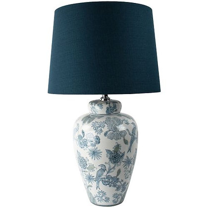Table Lamp Exotic Bird With Blue Shade