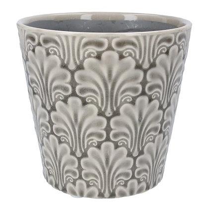 Gisela Graham Grey Fans 14cm Pot Cover