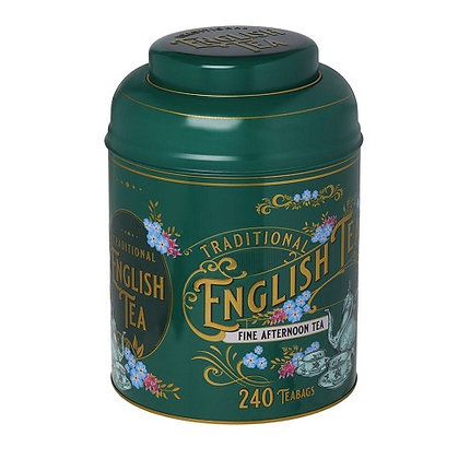 New English Bottle Green Vintage Victorian Tea Caddy  240 Bags