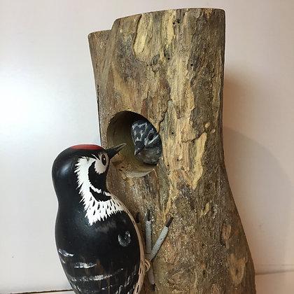 Archipelago Lesser Spotted Woodpecker Wooden Sculpture